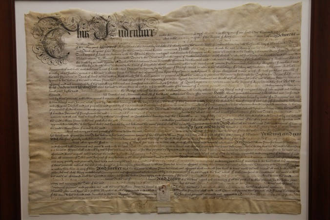 Indenture document (circa 1682) for the land that would one day become Tyler Arboretum.